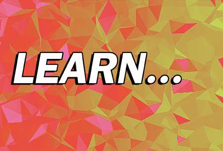 'Learn' in white text on abstract background