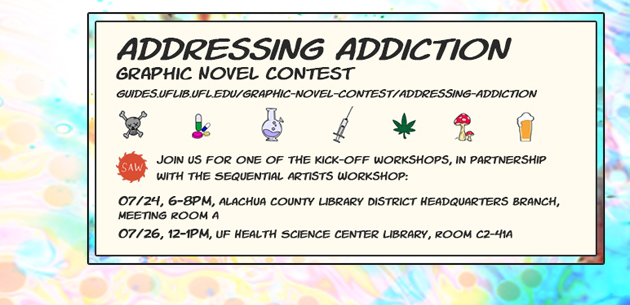 Addressing Addiction graphic novel contest slide