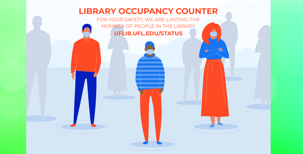 students stand, socially distanced, beneath text that says 'Library Occupancy Counter'